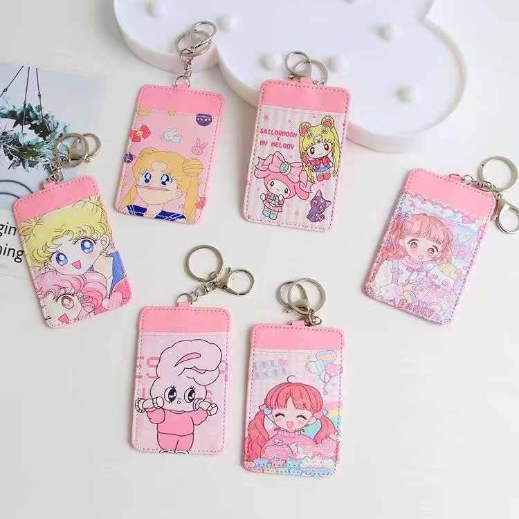 6d41cc2824 Animal Print Lovely Sailor Moon Credit Card Holder Travel Cardholder Girls  Card Wallet porta carte tarjetero