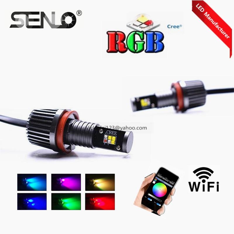 Ошибки нет горячей популярные цвет меняется беспроводной RGB светодиодные фары DRL ангел глаз для BMW E82 E89 е92 Е60 Е87 Е70 Х5 е71 Х6 E82 Е87 E89
