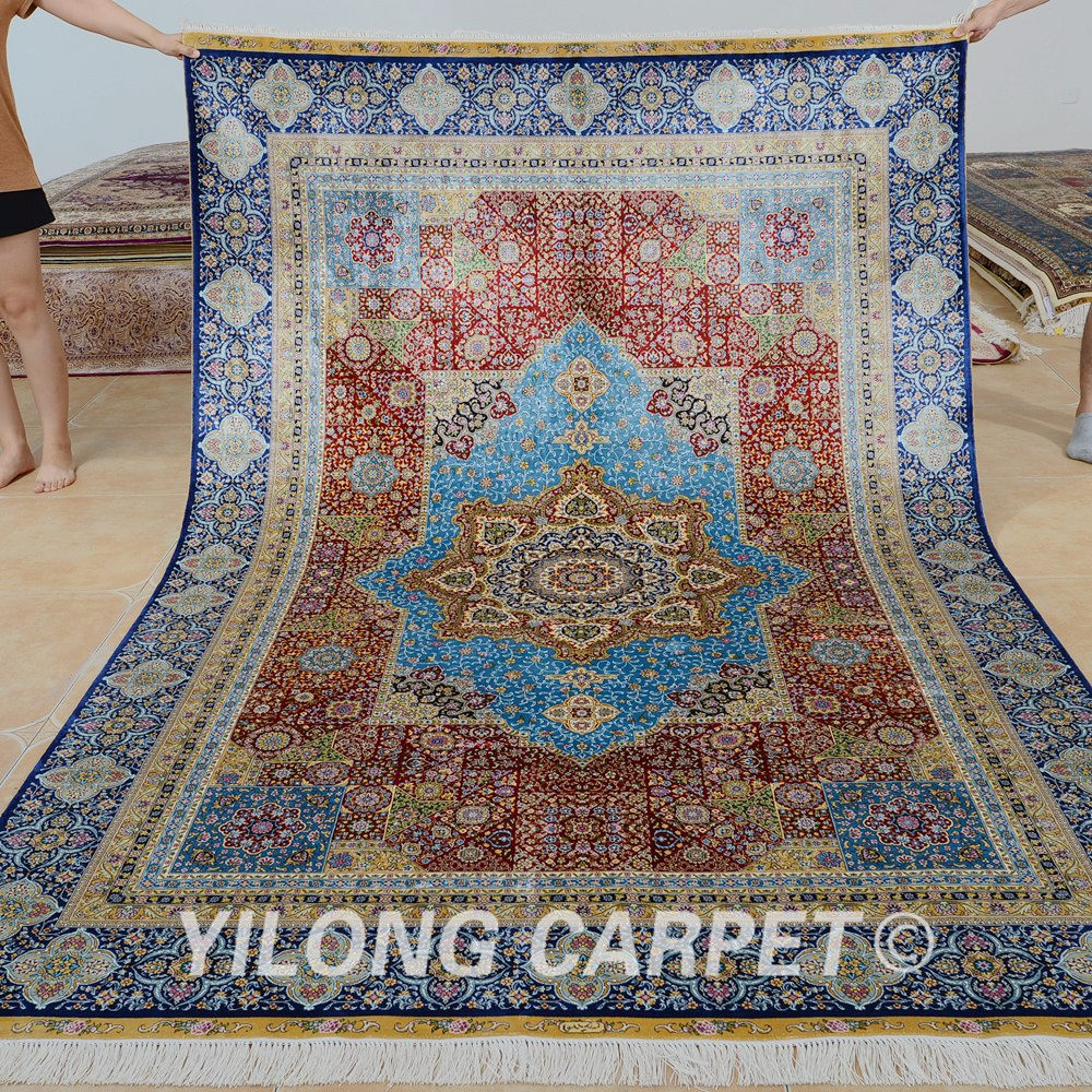 blue persian rug living room interior paints for aliexpress com buy yilong 6 x9 vantage hand knotted carpet silk rugs 0287