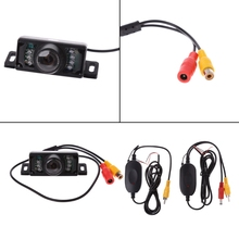 2.4G Wireless Car Reverse Rear View Backup Camera 7LED IR Night Vision Parking Kit free shipping free shipping brand new 4 pin 800tvl cmos ir night vision waterproof car rear view reverse backup camera for