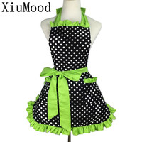 XiuMood Fashion Sexy Aprons 100 Cotton Cute Bib White Dots Kitchen Cooking Women Apron Dress With