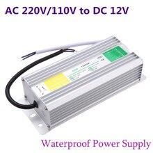 Fonte de alimentação, caso de metal ip67 transformador led fonte de alimentação 50w 60w 80w 100w 150w ac 220v adaptador para lâmpada de jardim, 110v a dc 12v