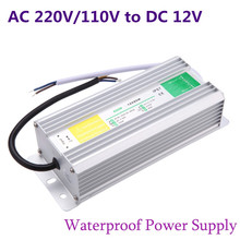 Metal Case Waterproof IP67 Transformer Switch Power Supply AC 90-250V to DC 12V 200W Adapter Driver for LED Strip Garden Lamp