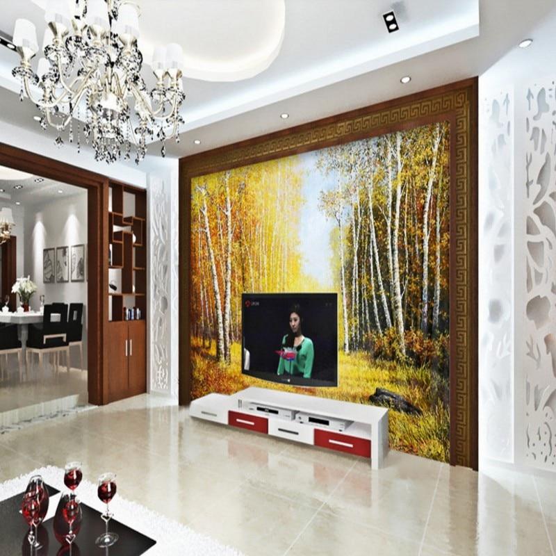 US $12.0 38% OFF|Fototapete Herbst wald pfad 3D stereo tapete wohnzimmer  schlafzimmer studio tapete kundenspezifische office-in Tapeten aus ...