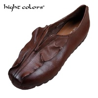 Size 35 40 Lady Genuine Leather Ethnic Hand Made Woman Shoes Elegant Soft Spring Vintage Women