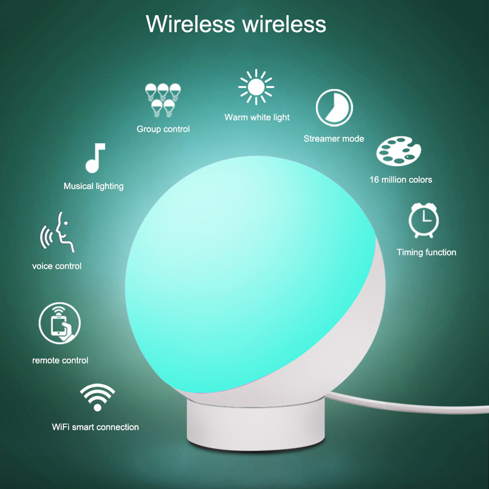 Smart Wifi Voice Control Adjustable Table Lamp Baby Night Light Dimmable Round Led Rgb Nursery Light Led Wifi Smart Desk Lamps