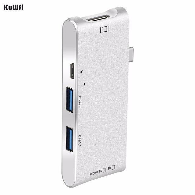 Adaptador de concentrador de 6 pulgadas 1 USB C pantalla 4K USB 3,0 con entrega de potencia Tipo C SD/lector de tarjetas TF para MacBook de tipo profesional C HUB Hdmi