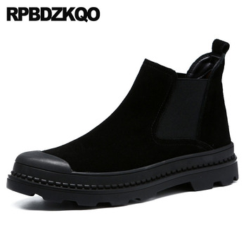Suede Winter Booties Thick Soled High Quality Platform Boots Chelsea Faux Fur Sole Top Men Slip On Casual Shoes Genuine Leather