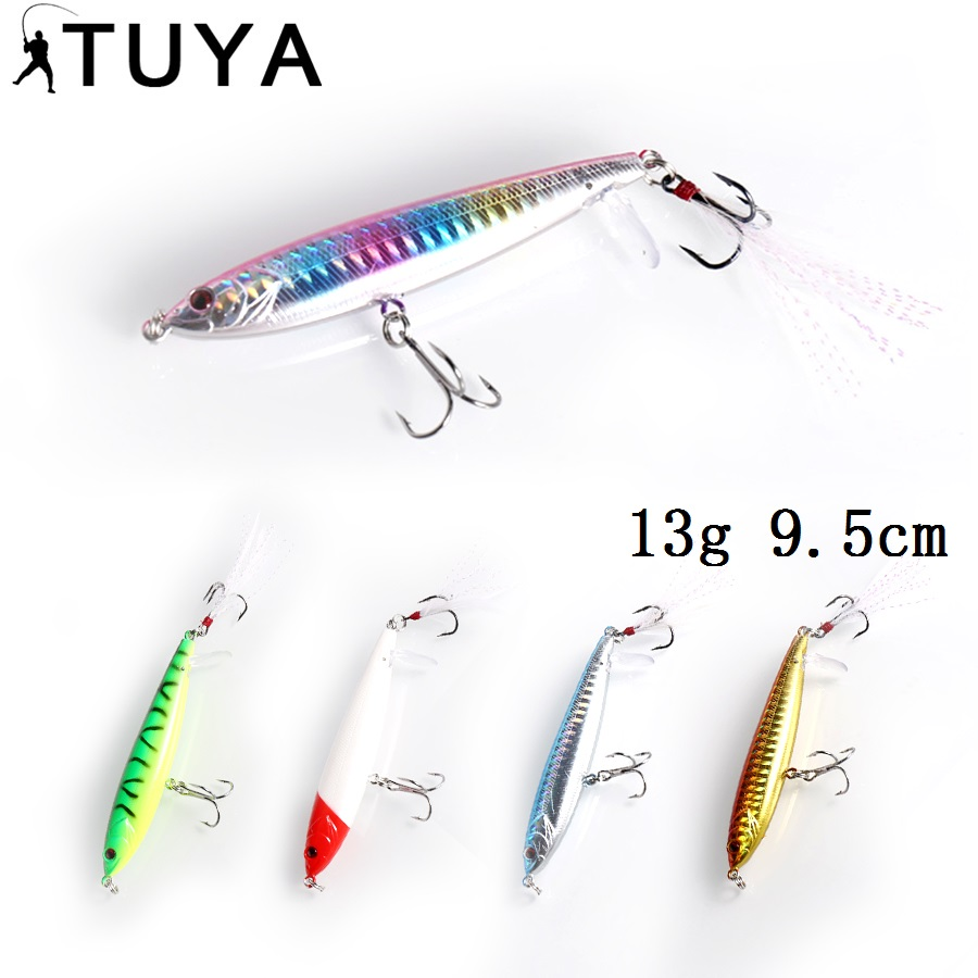 TUYA 1PC Pencil Fiske Lure topp vann Minnow Artificial Hard Beit Flytende toppvann Stickbait Popper 9.5cm 13g