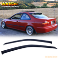 Fit 92-95 Honda Civic 2DR 3DR Dark Smoke 1.6MM Slim Style 2pcs Sun Window Visor