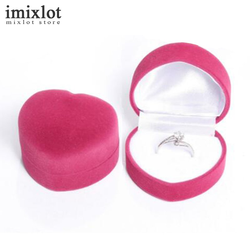Imixlot 5 Colors Mini Carrying Foldable Case Display Jewelry Box Packaging Durable Heart Shaped Lid Open Velvet Ring Box