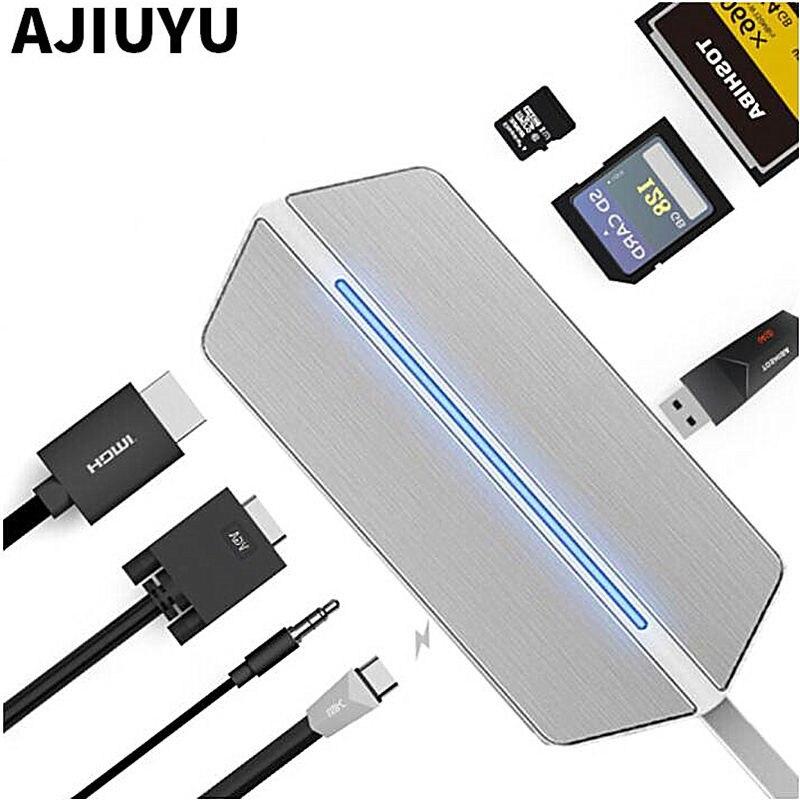 AJIUYU USB C to HDMI VGA Converter USB-C HUB Thunderbolt 3 to RJ45 Card Reader PD USB 3.1 For MacBook Pro 2016/2017 Type c Audio