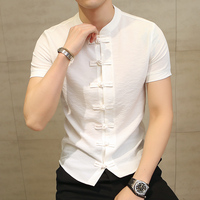 Chinese Style Linen Slim Fit Casual Short Sleeve Dress Shirt 2