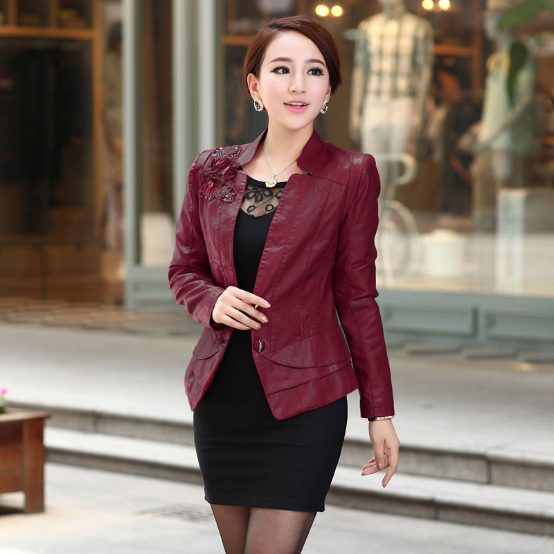 2016 Ladies   Leather   Jackets Women Autumn Winter Elegant PU   Leather   Jackets Motorcycle Short Design Slim   Leather   Jacket Coat 5XL