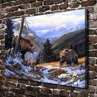 A0547 Snow Forest Natural Scenery Animal Bear. HD Canvas Print Home decoration Living Room bedroom Wall pictures Art painting