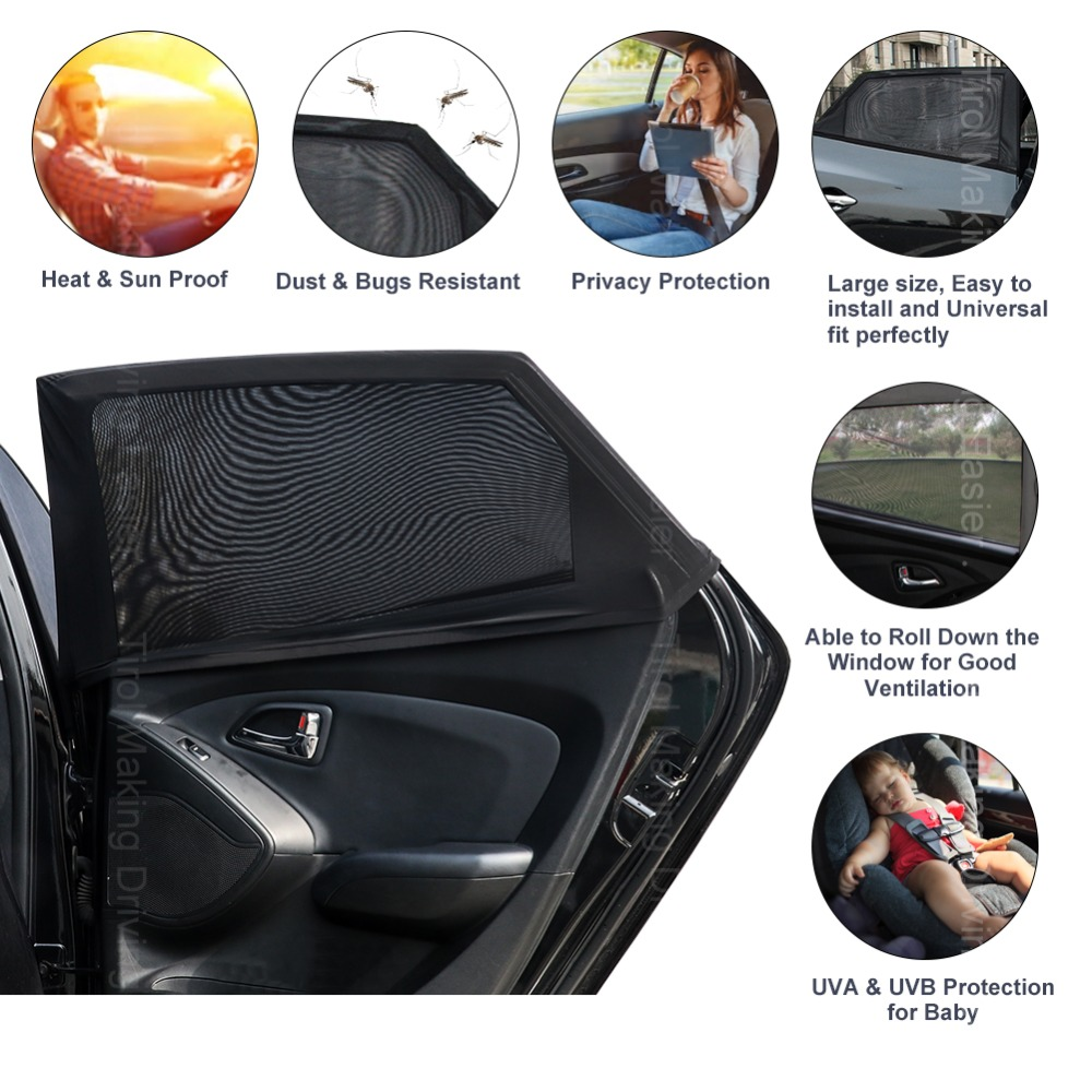 OxGord Universal Pull-On Open Air Car Window Mesh Sun Shade Bugs Screen Cover Set of 2