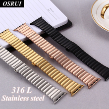 OSRUI Stainless steel strap for Apple watch 4 44mm 40mm band iwatch 3 bands 42mm 38mm for correa apple watch wrist Link bracelet osrui stainless steel for correa apple watch strap 4 44mm 40mm iwatch 3 wrist link bracelet for apple watch band 42mm 38mm belt