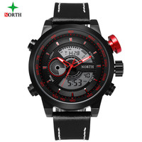 Mens Watches Top Brand NORTH Luxury Quartz Watch Fashion Digital LED Watches For Men Relogios Masculinos