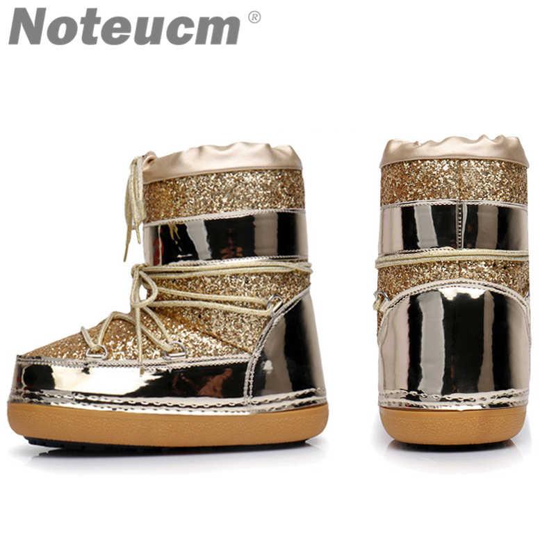 ... women s winter ankle platform Golden glitter sequin snow boots shoe  with faux fur hair boat for ... e4061672d236