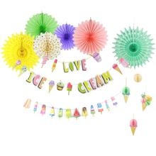 Ice Cream Themed 3D Honeycomb Balls Paper Fans Colorful Popsicle Banner Summer Party  Pop Kids Birthday Decorations