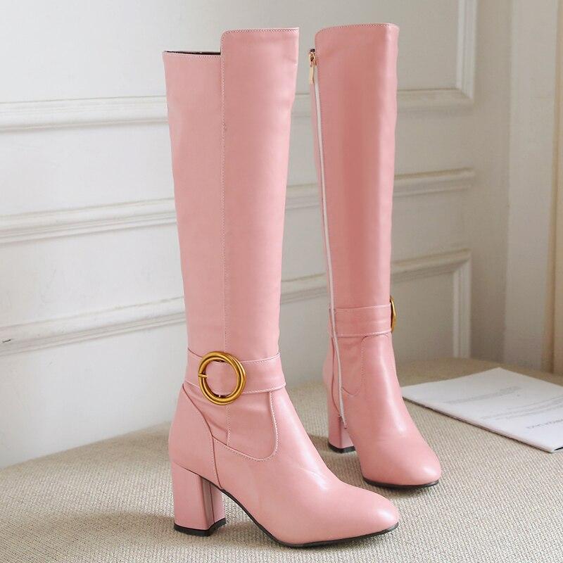 S 。ロマンスの女性は膝プラスサイズ 34 43 高平方ハイヒールの女性パンプスオフィスファッションの女性の靴黒ピンク SB139  グループ上の 靴 からの ニーハイブーツ の中 1