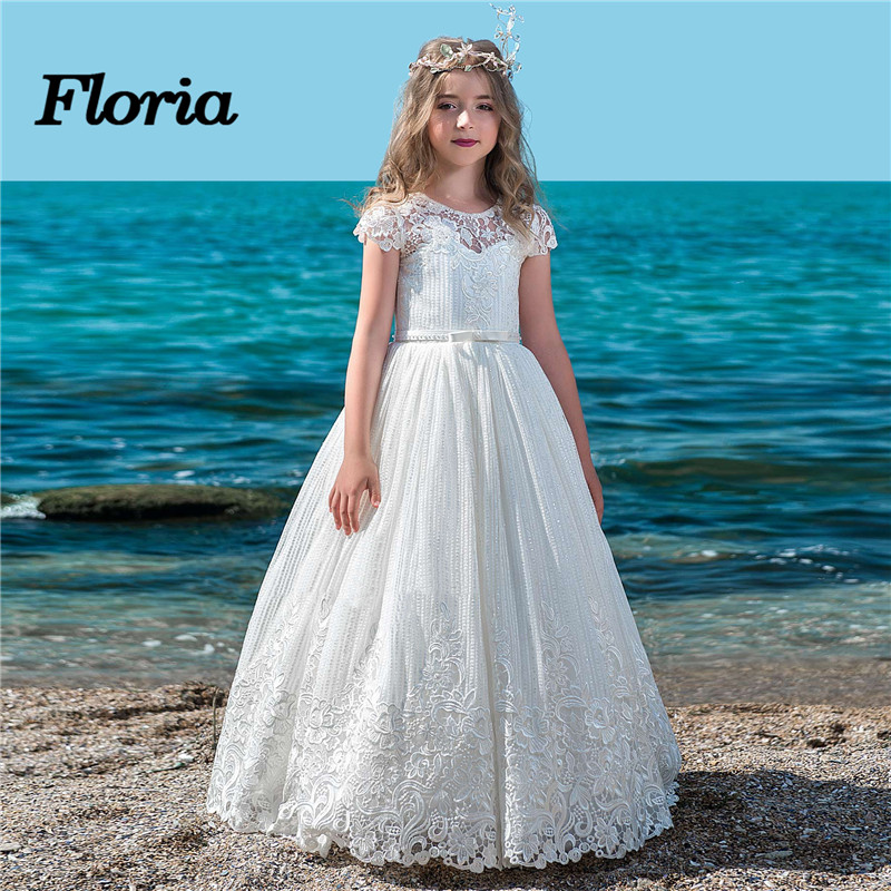 Fashion 2018 New Lace   Flower     Girl     Dresses   For Weddings Vestidos daminha Kids Evening Gowns First Communion   Dresses   For   Girls