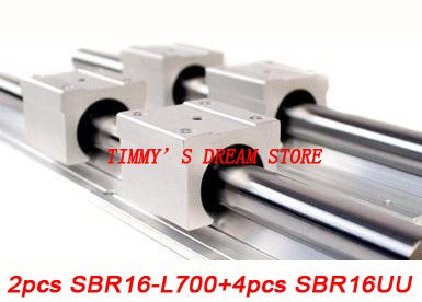 Free Shipping 2pcs SBR16-700mm Linear Bearing Rails + 4pcs SBR16UU Bearing Locks CNC X Y Z free shipping 2pcs sbr16 700mm linear bearing rails 4pcs sbr16uu bearing locks cnc x y z