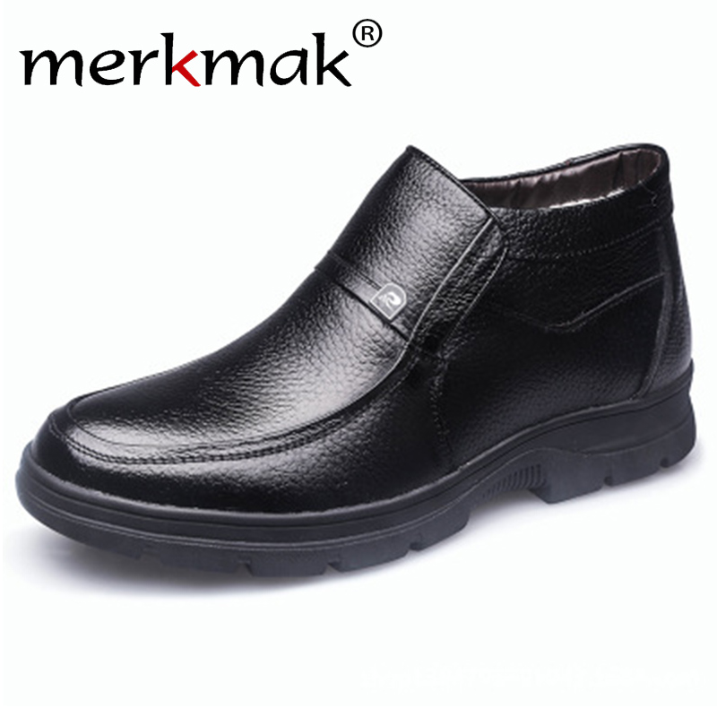 Merkmak Boots Men Snow-Shoes High-Top Male Winter 100%Genuine-Leather Brand Ankle Keep-Warm
