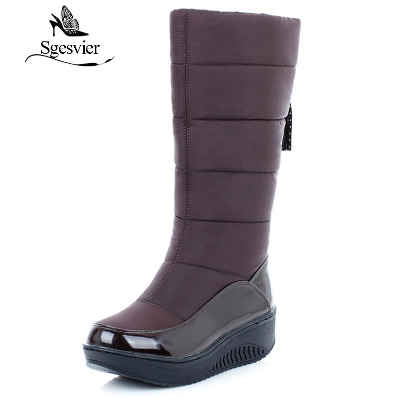 SGESVIER Snow Boots Women Shoes Platform High Quality Tassel Footwear Cotton Warm Plush Mid Calf Winter Boots Size 35-44 OX114 morazora russia women boots big size 35 44 keep warm snow boots platform winter mid calf boots fashion shoes solid white color