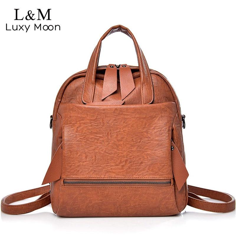 404ef6d8d730 Women Multifunctional Backpack Black Female Rucksack Lady Business Bags  High Quality Leather Backpacks Travel Bag Daypack XA955H