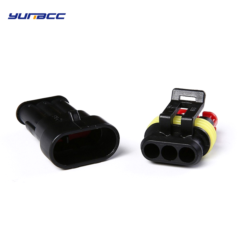 2sets Amp 3Pin Female Male Electric Automotive Connector Sealed Waterproof Auto Plug With Terminals And Seals 282087-1 282105-1