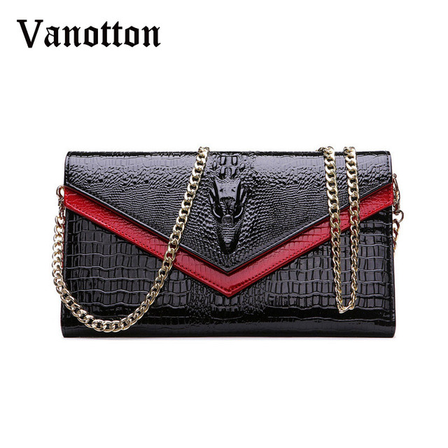 Fashion Brand Genuine Leather Bags Women Crocodile Pattern Leather Shoulder Bag Evening Clutch Wallet Purse Chain Messenger Bag