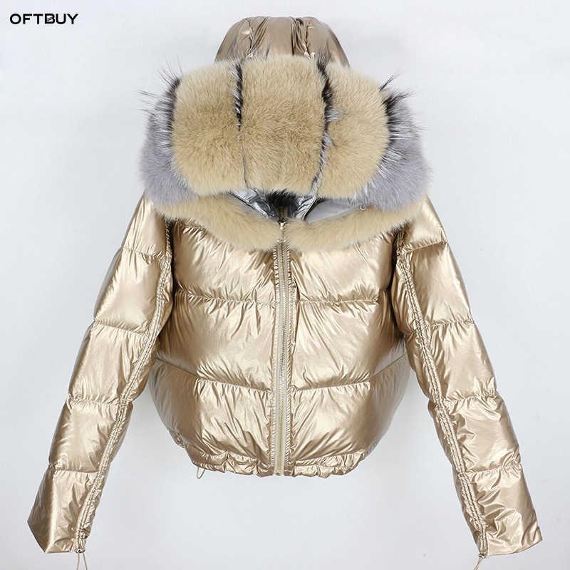 2019 winter jacke frauen splitter parka echtpelz mantel natürliche fuchs pelz kragen lose kurze mantel weiße ente unten jacke wasserdicht