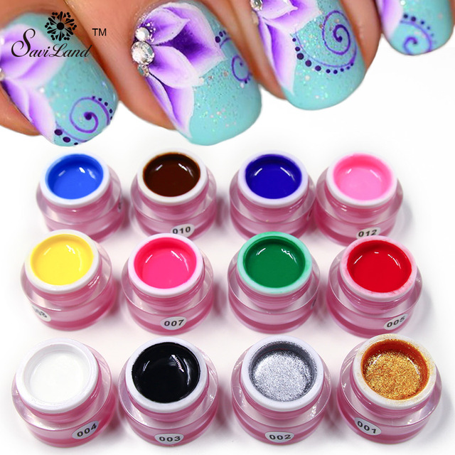 Saviland 1pcs Pure Colors Painting Bio Gel Nail Art Glue Colorful