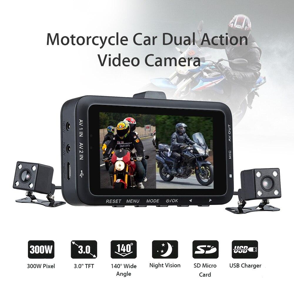 STK DV168 double objectif moto voiture monté motard Action vidéo caméra DVR avant arrière 3.0