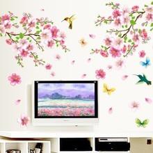¡Producto en oferta! pegatinas de pared de flores de Sakura decoraciones para habitación de fondo de tv 9158. Diy hogar calcomanías extraíble arte mural imprimir carteles 3,5