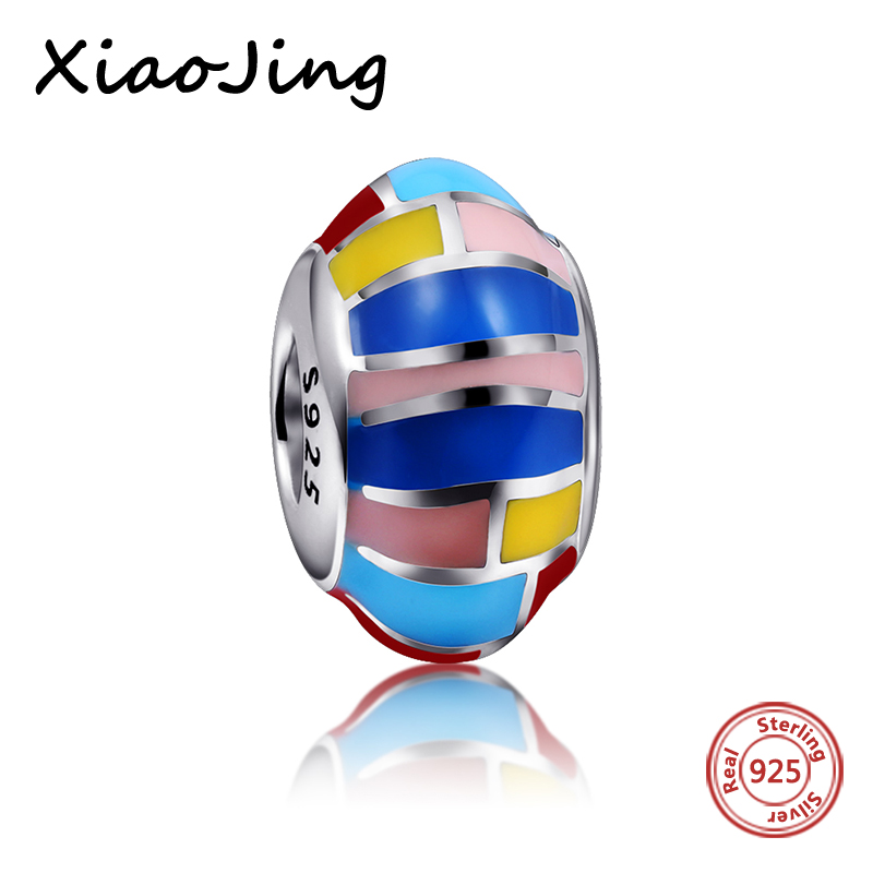 High quality 925 Sterling Silver Colour Enamel Charm Beads Fit Authentic pandora Bracelets Beads for Jewelry making lover Gift in Beads from Jewelry Accessories