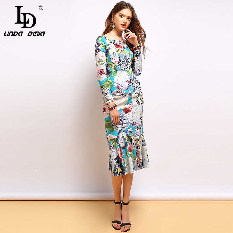 LD LINDA DELLA Herfst Fashion Runway Lange Mouw Jurk vrouwen Elegante Ruches Bloemenprint Midi Mermaid Party Bodycon Jurken