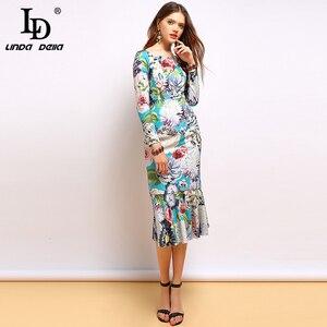Женское платье с оборками LD LINDA DELLA, подиумное вечернее облегающее платье средней длины с длинным рукавом и цветочным принтом, осень 2019