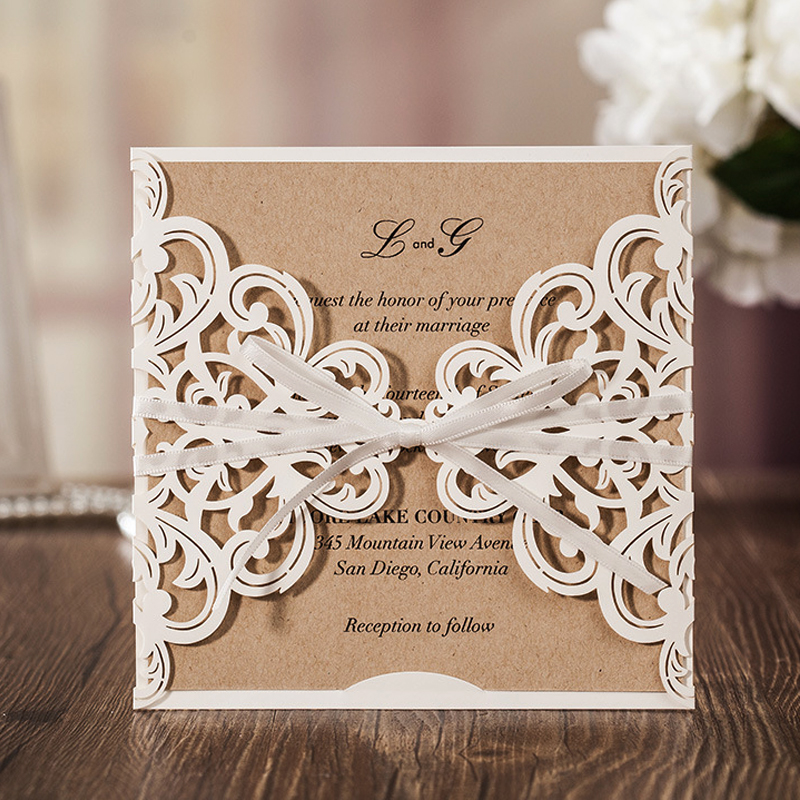 50Pcs Customizable Ivory Laser Cut Wedding Invitations Card With Hollow Flower White Ribbon for Marriage Birthday Party CW6175W