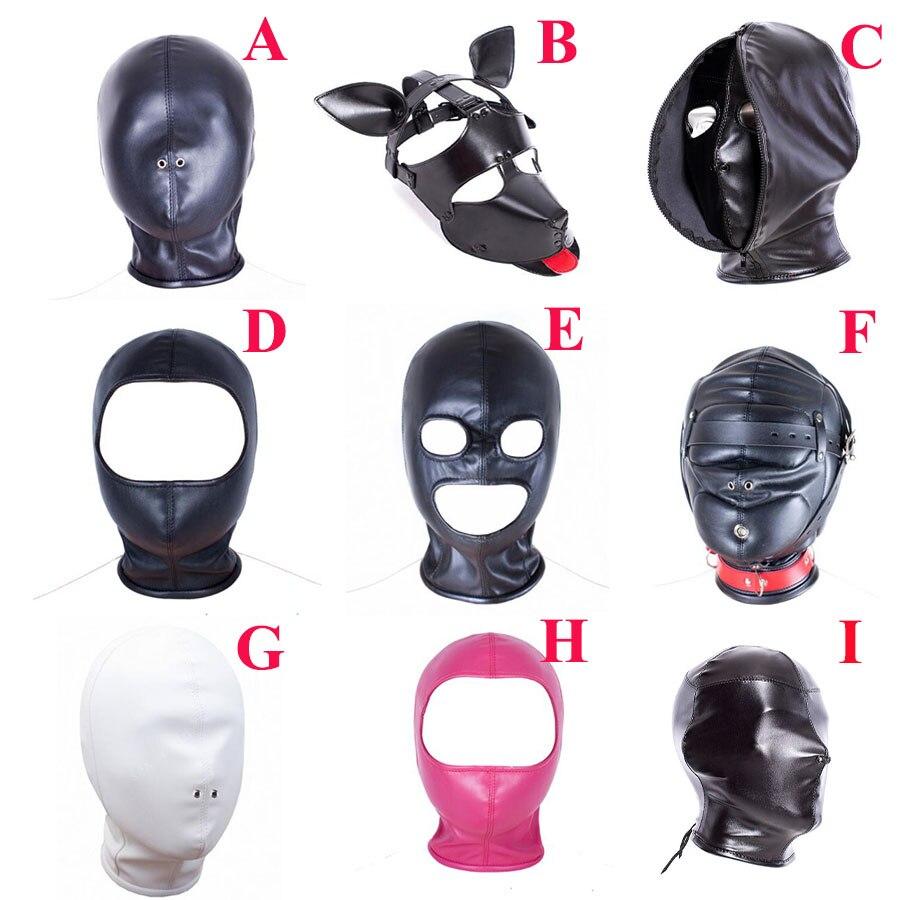 Leather Head Bondage Mask Hood ,Blackout Mask Blindfold,Role Play Costume,Sex Toys For Couple