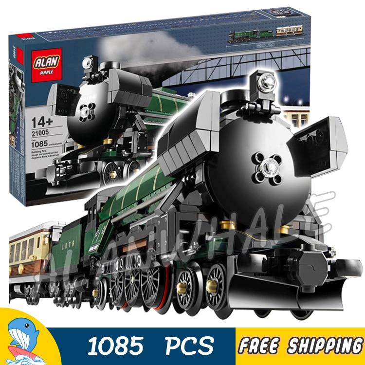1085pcs Creator Trains Emerald Night Train Steam Locomotive 21005 Model Building Blocks Assemble Bricks Compatible With Lago