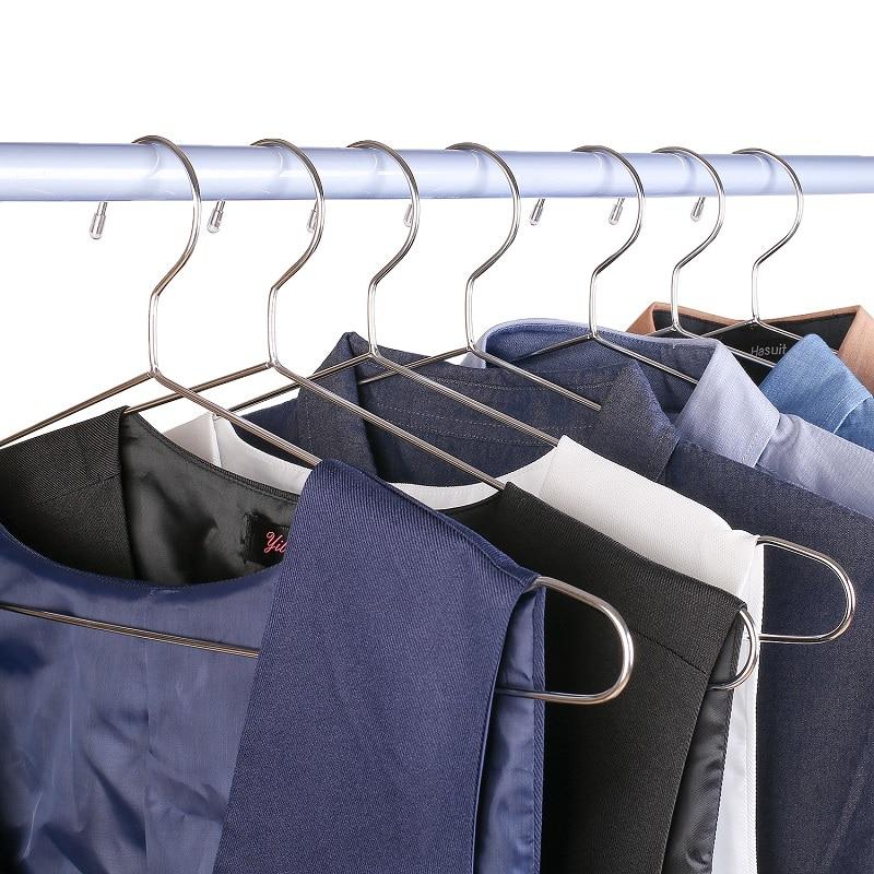 Купить с кэшбэком 45cm Stainless Steel Strong Metal Wire Hangers, Coat Hanger, Standard Suit Hangers, Clothes Hanger (30 pcs/Lot)