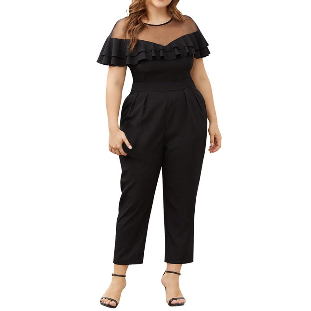 Women's Plus Size Short-Sleeved Solid Jumpsuits Elegant Office Ladies Mesh Stitching Ruffled Small Feet Long Romper Jumpsuit*XSL