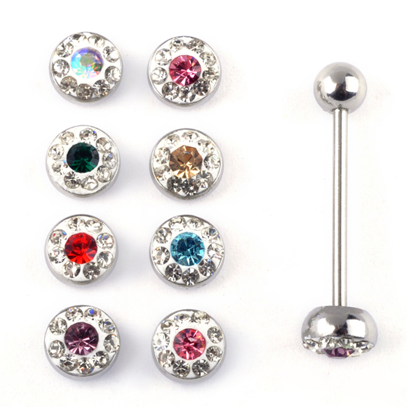 12pcs chic crystal ball stud tongue piercing rings stud