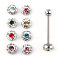 12Pcs Chic Crystal Ball Stud Tongue Piercing Rings Stud Disco Bar Body Piercing Jewelry 316L Surgical steel 17G/1.4mm Wholesale 1 2mm 316l surgical steel scorpion pattern ear bar stud silver black
