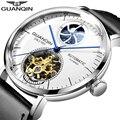 Мужские часы GUANQIN  водонепроницаемые механические часы с автоматическим скелетом  Tourbillon  2019