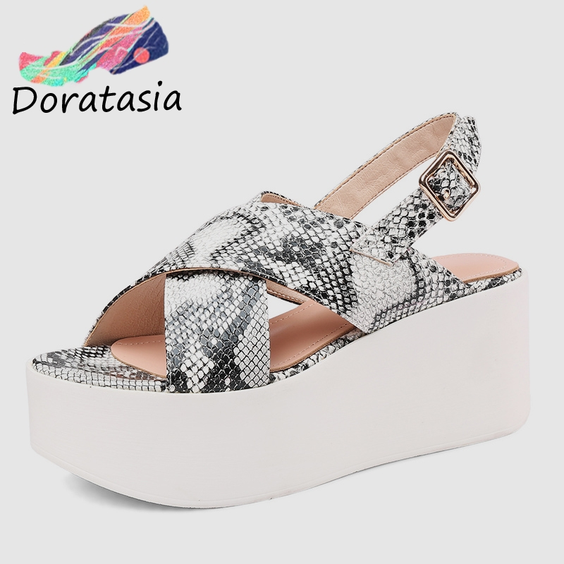 DORATASIA 2019 Brand New Luxury Genuine Leather Flat Platform Women Shoes Woman Casual Party Office Summer