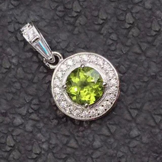 Vintage colgantes de los collares de las mujeres de plata 100% natural gemestone olivino colgante 925 collar colgante de Plata de Ley Maciza