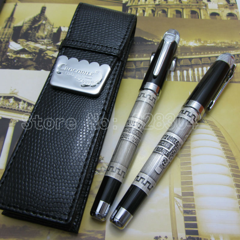 jinhao high-quality classic ancient bronze tripod, and black high-grade medium nib Roller Pen and holster free shipping jin hao high quality classic ancient